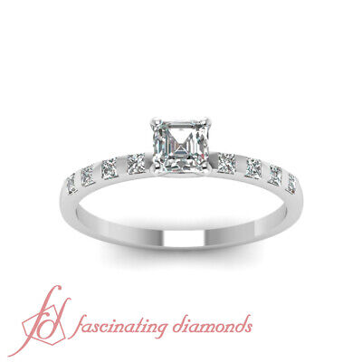 1.15 Ct White Gold Diamond Ring For Her With Asscher Cut And Round Accents GIA 1