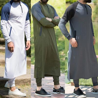 US Men Dubai Clothes Muslim Thobe Abaya Robe Dishdasha Islamic Kaftan Maxi Dress