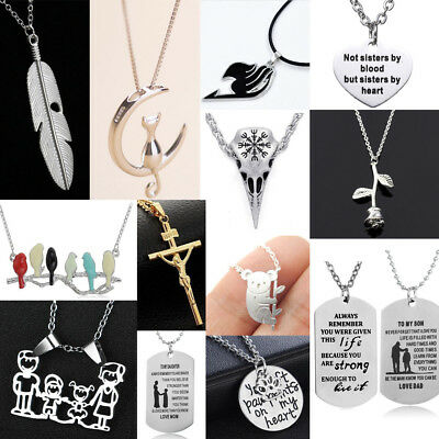 Silver Women Men Necklace Chain Jewelry Pendants Gift For Her Best Friends