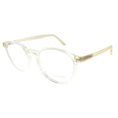New Tom Ford FT 5524 039 Transparent Yellow Plastic Round Eyeglasses (Plastic Spectacles)