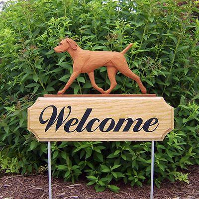 Vizsla Dog Breed Oak Wood Welcome Outdoor Yard Sign