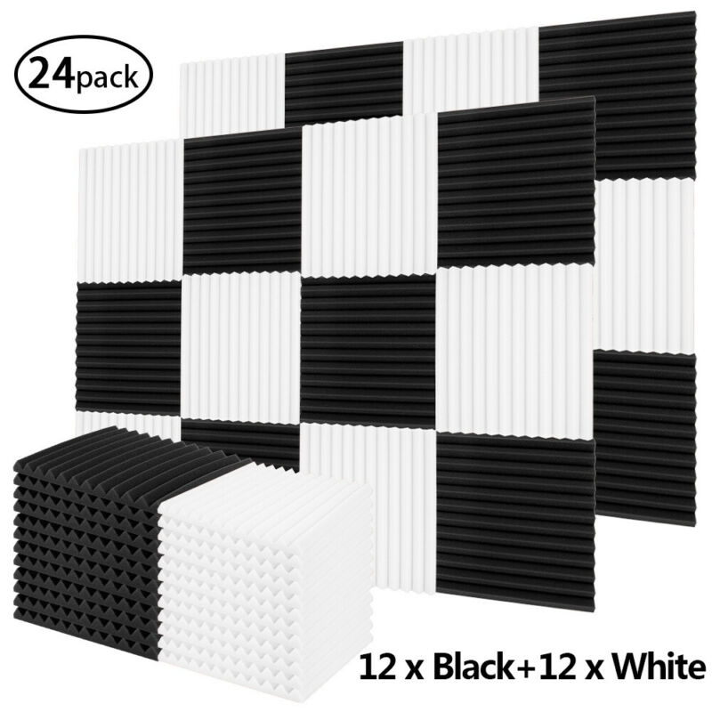 24 Pack 1X12X12in Wedge Foam Acoustic White Black Studios Sound Absorption Wall