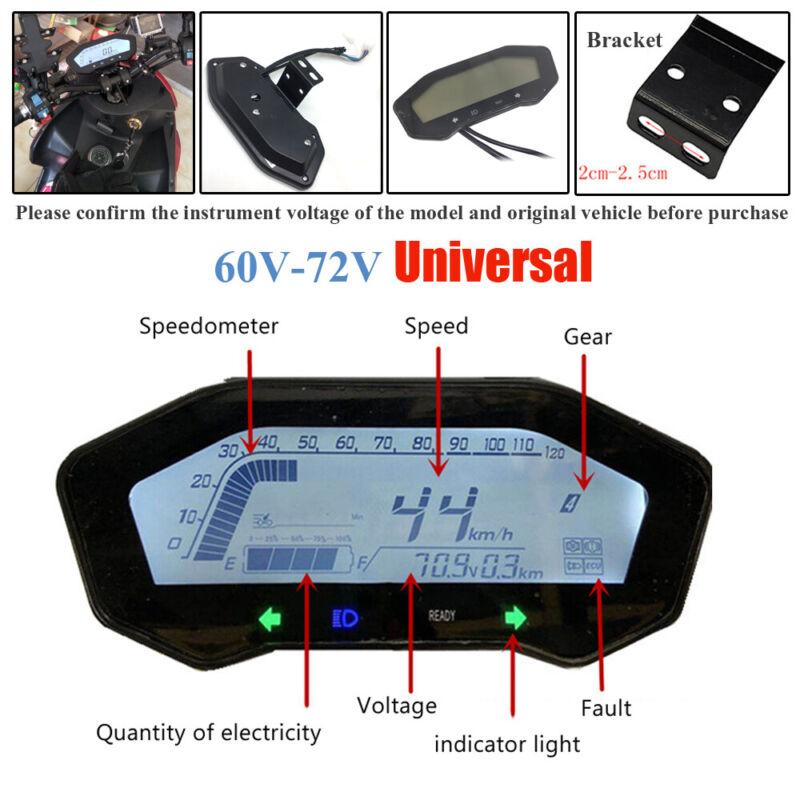 60V-72V Universal Motorcycle LCD Digital Odometer Speedometer Tachometer Gauge