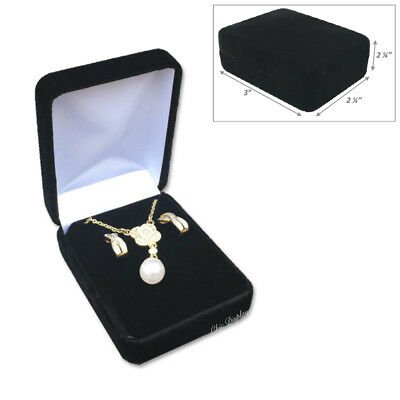 - <LUX> METAL BLACK VELVET LONG EARRING BOX NECKLACE JEWELRY PRESENTATION GIFT BOX