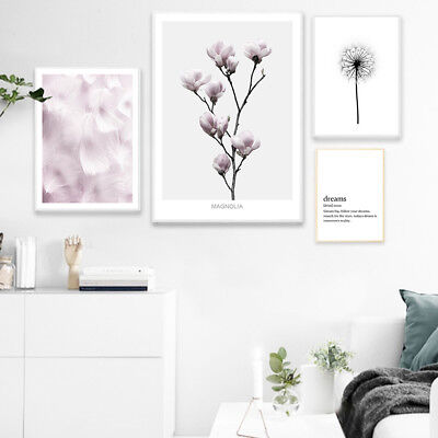 Flower Feather Wall Art Canvas Poster Dream Quote Abstract Print Nordic Decor](Feather Wall Art)