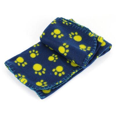Soft Warm Fleece Lovely Paw Print Pet Blanket Dog Cat Mat Puppy Bed Sofa Blue