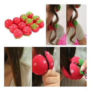 12x Strawberry Balls Hair Care Soft Sponge Rollers Curlers Lovely DIY Tool HE