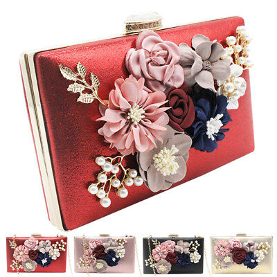 Floral Party Purse Women Lady Clutch Wallet Bag Wedding Evening Chain Handbags