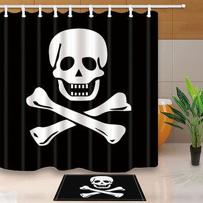 Pirate flag Bathroom Decor Shower Curtain Waterproof Fabric w/12 Hook 71*71inch - Pirate Shower Curtain