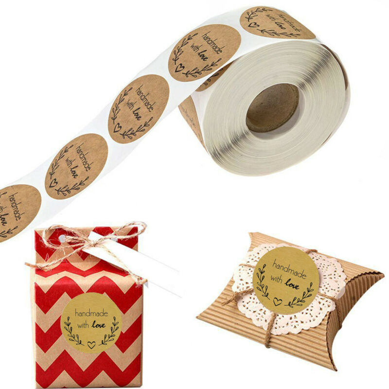 1500*Craft Handmade & Love Stickers Cookie Bags Package Labe