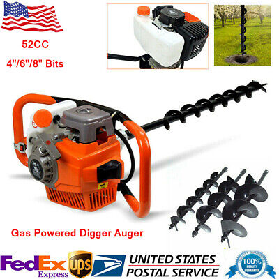 52cc Gas Powered Earth Auger Post Fence Hole Digger 468 Bit Extension Bar