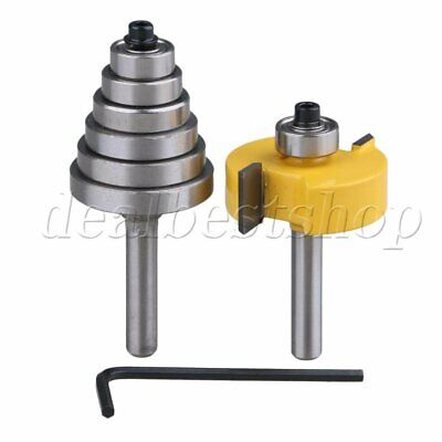 Rabbet Router Bit With 6 Bearing 14 Shank For Carbide Wood Milling Pack Of 2