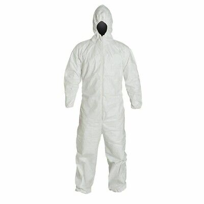 25-suits White Hooded Coveralls Protective Disposable Suit Xl