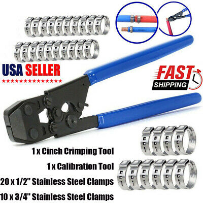 Pex Pipe Cinch Crimping Tool With Clamp Blue 12 And 34 Clamps Kit Us Stock
