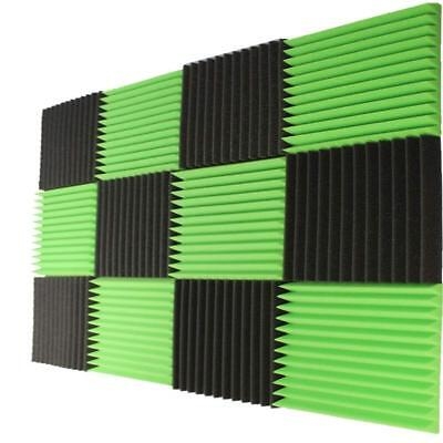 12 PCS12x12x1 Acoustic Foam Panel Tiles Wall Record Studio Sound Proof CoalGreen