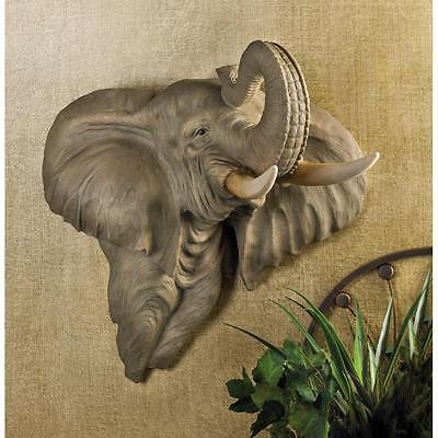 Tropical Trophies (large African Bull Elephant Head tropical Jungle Art Wall hanging Trophy Sconce )
