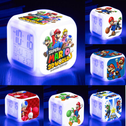 Super Mario 7-Color-Changing LED Night Light Alarm Clock Watch Toy Gift 40 Types