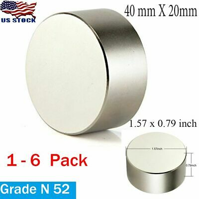 Large Thick N52 Neodymium Rare Earth Craft Magnet Big Super Strong Huge 40x20 Mm