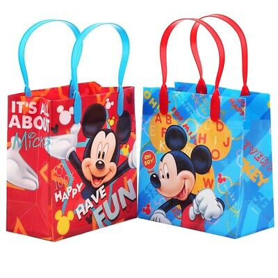 12PCS Disney Mickey Mouse Goodie Party Favor Gift Birthday Loot Reusable Bags - Mickey Mouse Party Bags