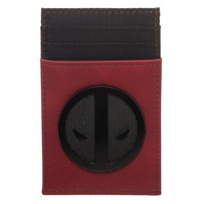 Front Pocket Slim Card Holder Wallet Deadpool Marvel Comics Movie Black Red Merc