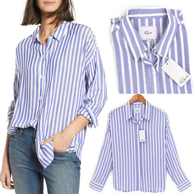 NWT Rails Josephine Button Up Stripe Shirt Light Weight White Blue