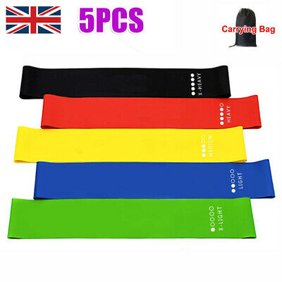 Set 5 Resistance Bands Exercise Sports Loop Fitness Home Gym Yoga Latex with Bag
