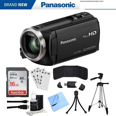 Panasonic HC-V180K Full HD Camcorder w/ 50x Stabilized Optical Zoom Bundle Black