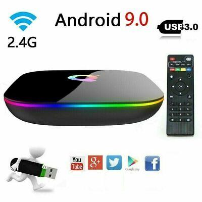 2020 6K Q plus 4+64GB Android 9.0 Pie Quad Core Smart TV Box WIFI 3D H.265 Media