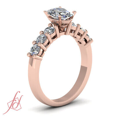 .85 Carat Oval Shaped Diamond Round Accented Ring In Rose Gold For Women GIA 2