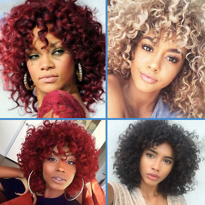 Afro Deep Curly Synthetic Hair Wig Black Red Blonde Women Fashion Cute Hair Wigs (Curly Red Wigs)