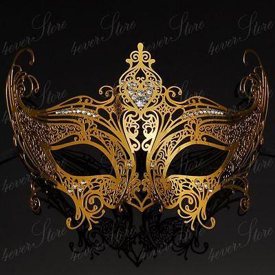 Gold Elegant Queen Masquerade Mask Collection - Laser Cut Venetian Mardi Gras  (Elegant Masquerade Masks)