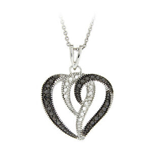 925 Silver Black & White Diamond Accents Heart Swirl Necklace