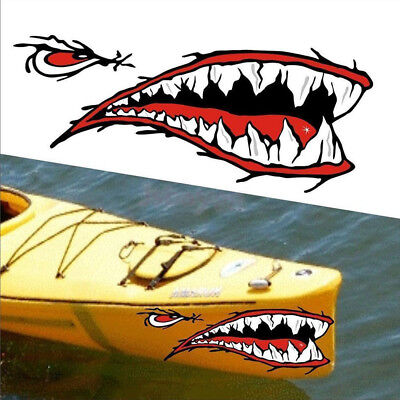 2Pcs/set Shark Teeth Mouth Vinyl Decal Stickers For Kayak Canoe Dinghy Boat US for sale  Shipping to South Africa