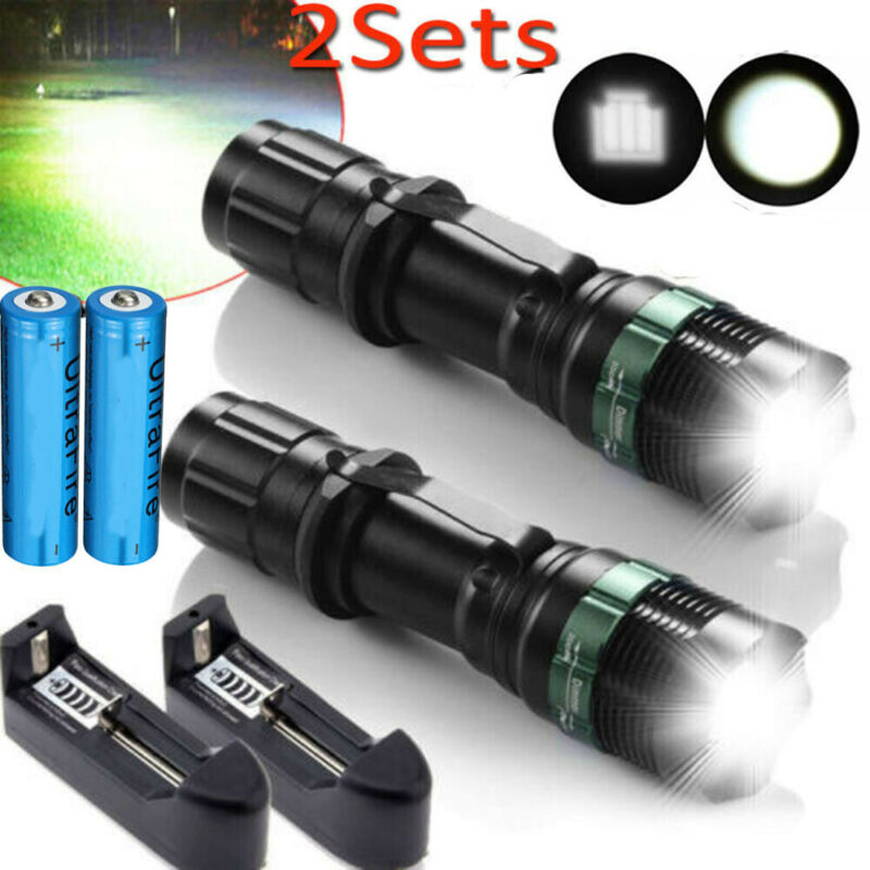 Tactical 350000LM LED Flashlight Ultra Super Bright Zoomable Torch Light Lamp US