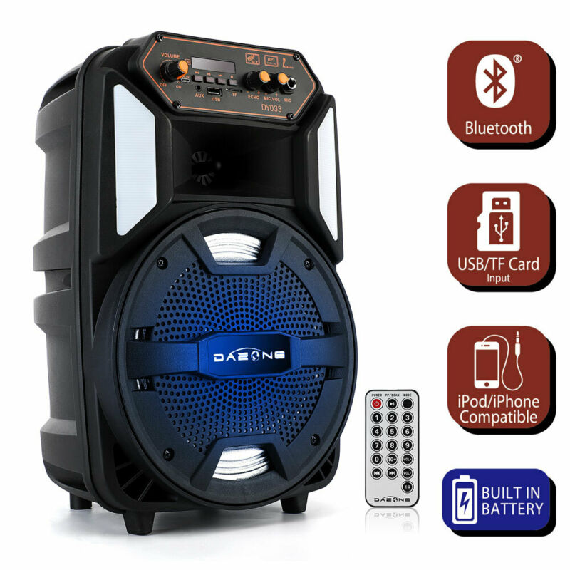 "8"" 1000W Portable FM Bluetooth Speaker Sound System DJ Party PA Tailgate Remote"