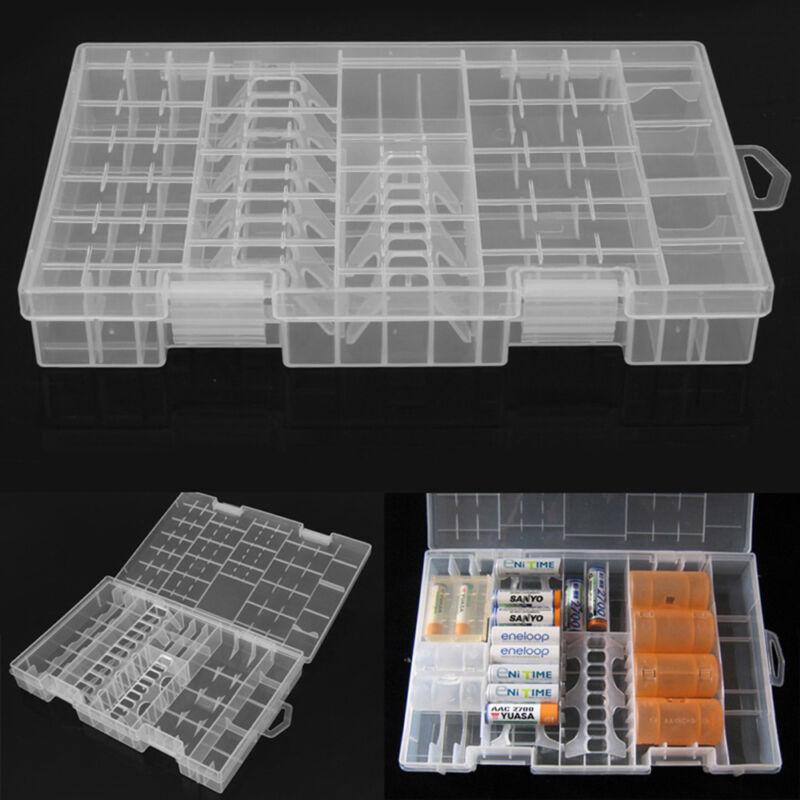 New Transparent AA AAA C D 9V Hard Plastic Battery Case Storage Box Holder Rack
