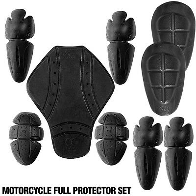 Motorcycle Motocross CE Armour Back Shoulder & Elbow Knee Thigh Protection Pads