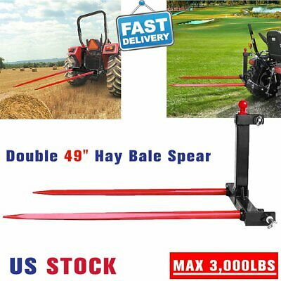 Skid Steer Double 49 Hay Bale Spear Attachment Heavy Duty Tractor Handling Hitc
