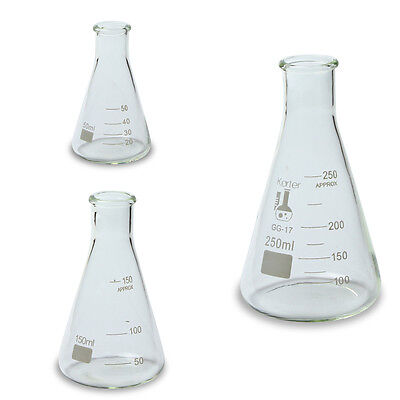 Karter Scientific Erlenmeyer Flask Borosilicate Glass Set Of 3 - 50 150 250 Ml