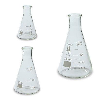 Karter Scientific Erlenmeyer Flask Borosilica Te Glass Set Of 3   50 150 250 Ml