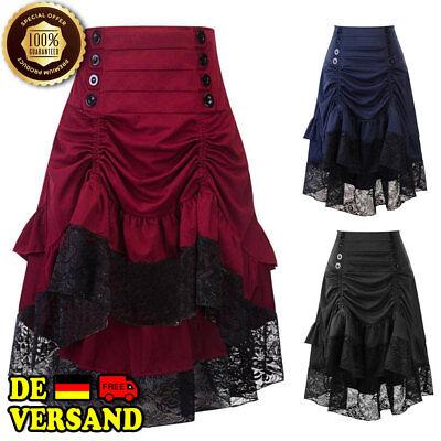 Damen Steampunk Gothic Gerüscht Rock Vintage Hoch Niedrig Kleid Zigeuner Hipp DE ()