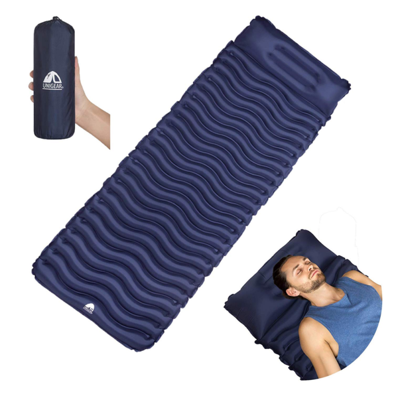 Hiking and Traveling Unigear Ultralight Inflatable Sleeping Pad Compact Air Camping Mat for Backpacking