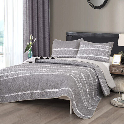 3 Piece Grey Quilted Bedspread Blanket 2 Matching Pillow Shams Queen/King Size