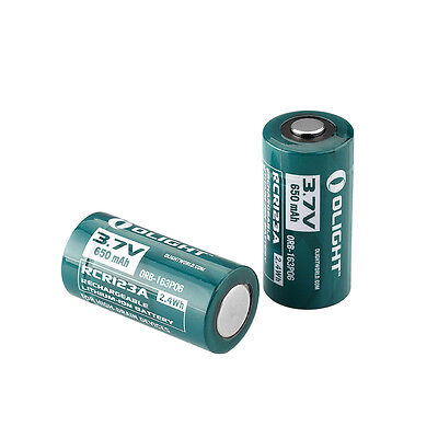 2 X Olight Rcr123a 16340 Lithium Ion Battery 650 Mah 3 7V For High Drain Devices