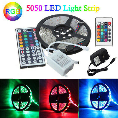 LED Strip Lights 1M-5M 5050 RGB Colour Changing TV Backlight with Remote Control