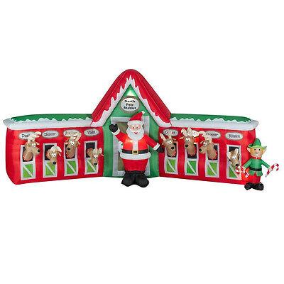 Christmas  Huge 12 Ft Santa 8 Reindeer Stable Elf Airblown Inflatable Gemmy