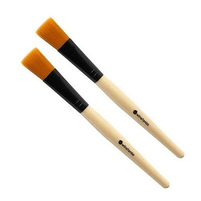 (Winstonia 2pc Facial Mask Brush Face Applicator, Hygiene Clean Even Mud Clay)