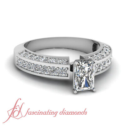 Pave Set 1.65 Ct Radiant Very Good Cut Diamond 14K Gold Engagement Ring VVS1 GIA