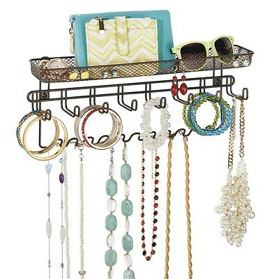 Jewelry Holder Wall Mount Organizer Earring Necklace Shelf Rack Storage Display