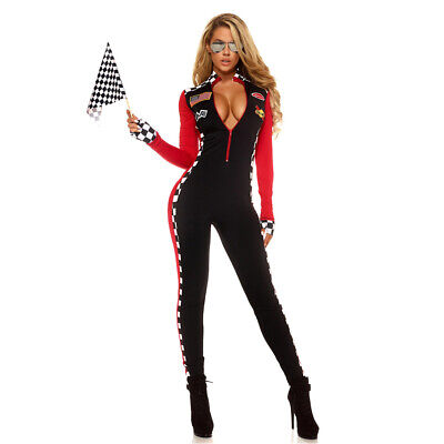Race Girl Costume (Sexy Racing Race Car Driver Jumpsuit Catsuit Costume Racer Girl)